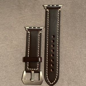 """Leather 42mm Apple Watch coffee brown 1"""" wide band"""